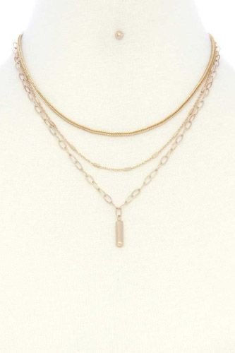 Metal Bar Oval Link Layered Neclace