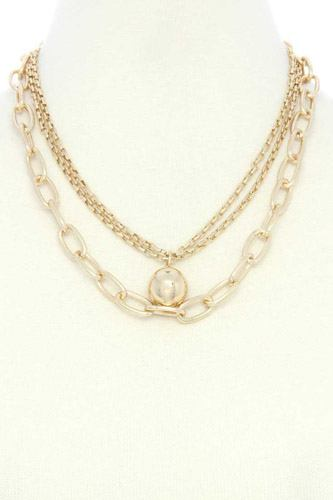 Metal Ball Oval Link Layered Necklace