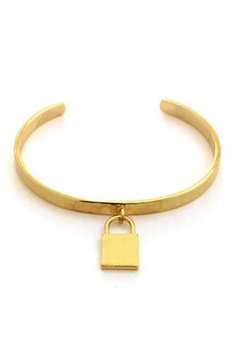 Metal Lock Charm Cuff Bracelet