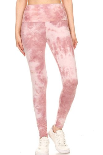5-inch Long Yoga Style Banded Lined Tie Dye Printed Knit Legging With High Waist.