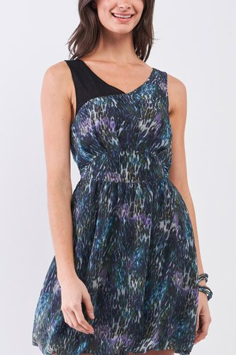 Navy Blue Sleeveless Mesh V-neck Self-tie Waist Stitched Together Bottom Mini Dress