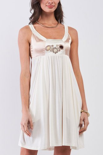 Dear Juliet White & Champagne Gold Sleeveless Embroidered Satin Detail Mini Dress