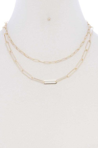 Metal Paper Clip Chain 2 Layered Necklace
