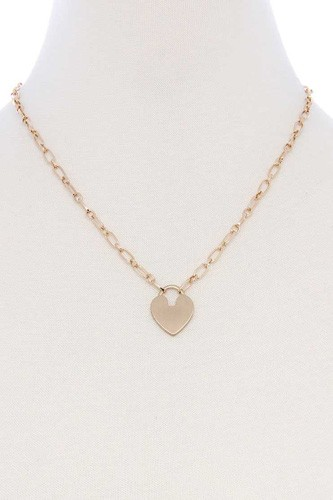 Metal Chain Heart Lock Pendant Necklace