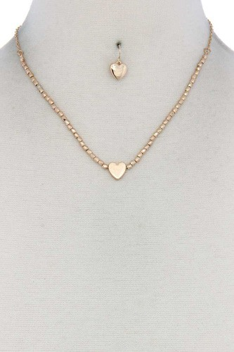 Heart Charm Beaded Necklace