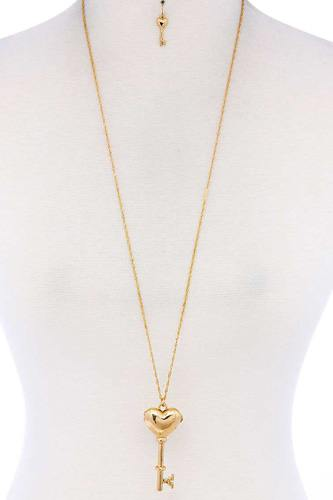 Heart Key Shape Locket Pendant Necklace