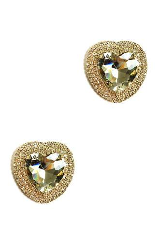 Rhinestone Heart Stud Earring