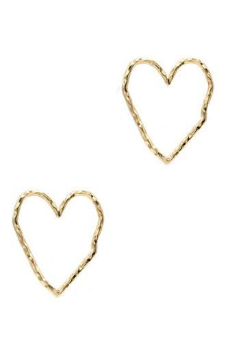 Rough Metal Heart Stud Earring