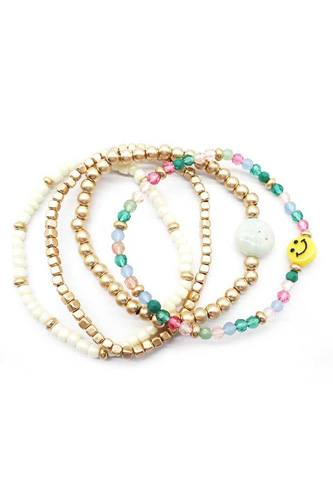 Multi Glass Metal Bead Smile Stretch 4 Pc Bracelet