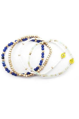 Metal Glass Seed Bead Smile Stretch 4 Pc Bracelet