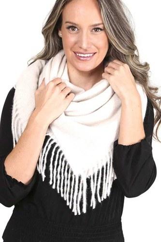 Solid Color Blanket Scarf With Fringes