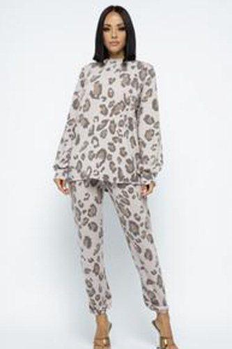 Brushed Animal Long Sleeve Loose Top W Sweatpants Set