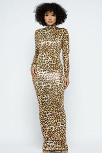 Animal Foil Mock Neck Body Con Maxi Dress