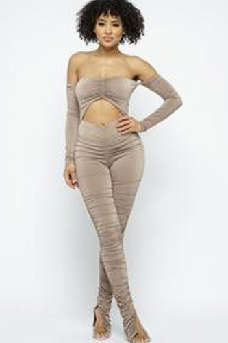 Long Slv Cinch Cut Out Front Ruched Leg Jumpsuit