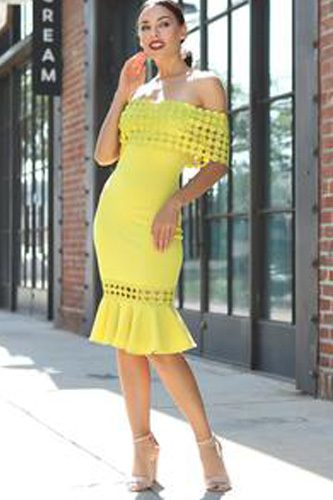 Off Shoulder Crochet Band Fashion Dress
