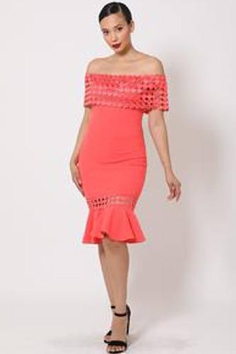 Off Shoulder Crochet Band Fashion Dress