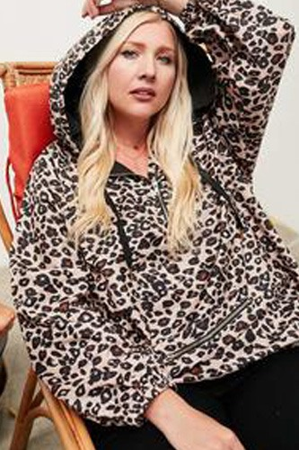 Active Hoodie Windbreaker Leopard Print Anorak