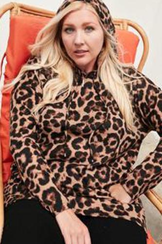 Long Sleeve Hoodie Knit Leopard Print Top