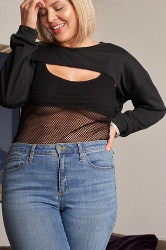 Plus Black Raw Hem Long Sleeve Crop Overtop & Beach Net Sheer Bodysuit Two-piece Set