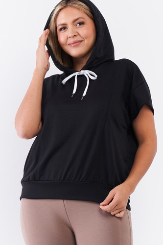 Black Short Wing Sleeve Relaxed Fit White Draw String Tie Hood Detail Top