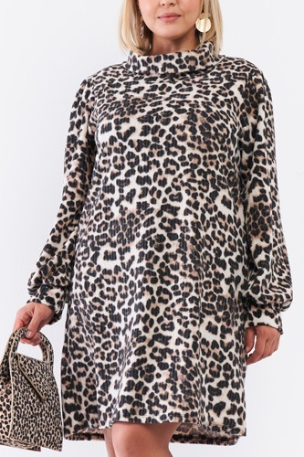 Plus Size Leopard Print Ribbed Cowl Neck Balloon Sleeve Mini Dress