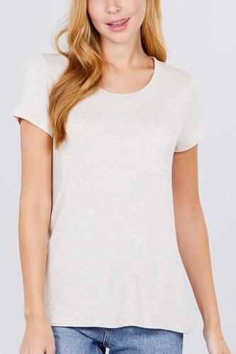 Short Sleeve Scoop Neck Top With Pocket