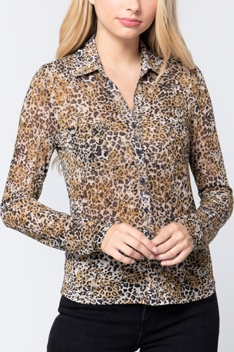 V-neck Print Mesh Knit Shirt
