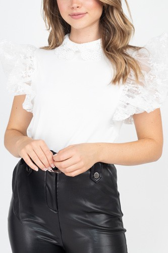 Solid Lace Puff Sleeves Top