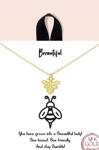 Beeautiful Pendant Dainty Message Necklace