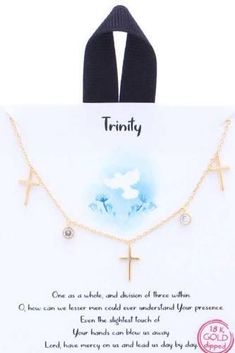 Trinity Cross Charm Message Necklace