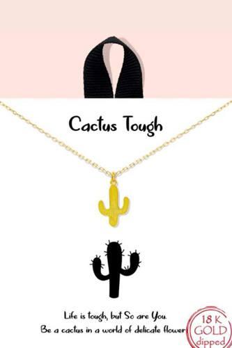 Cactus Tough Pendant Dainty Message Necklace
