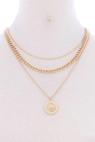 3 Layered Lion Pendant Metal Multi Necklace Earring Set
