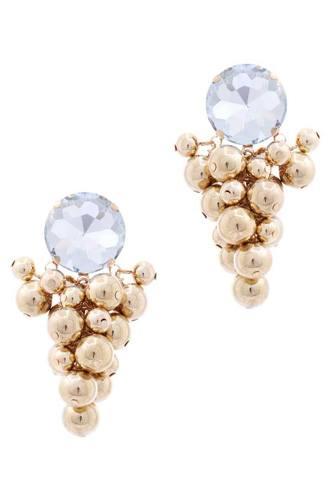 Multi Balls Wide Stone Stud Earring