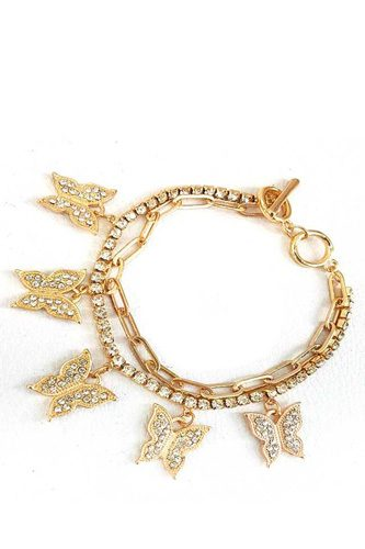 Fashion Trendy Double Layer Rhinestone Butterfly Bracelet