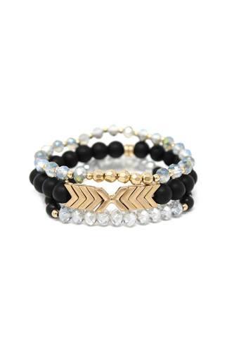 Natural Stone Glass Bead Stretch Multi Bracelet 3 Pc Set