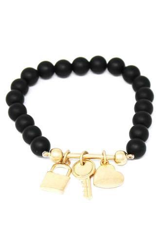 Multi Style Bead Locker And Key Charm Stretch Bracelet