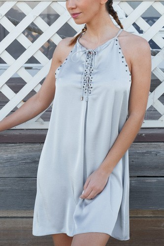 Silver Dust Satin Front Lace Up Grommet Studded Mini Dress
