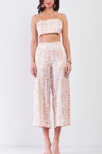 Silky Snake Print Sleeveless Crop Top & High Waist Flare Bottom Pants Set