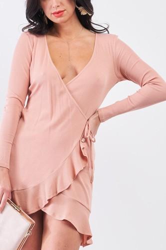 Tan Blush Ribbed Deep Plunge V-neck Asymmetrical Wrap Flare Hem Dress