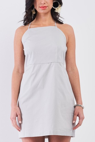 Light Grey Cotton Sleeveless Back Criss Cross Straps Square Neck Side Pockets Apron Mini Dress