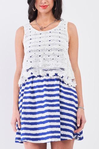 White & Navy Horizontal Striped Round Neck Sleeveless Floral Embroidery Layered Top Mini Dress
