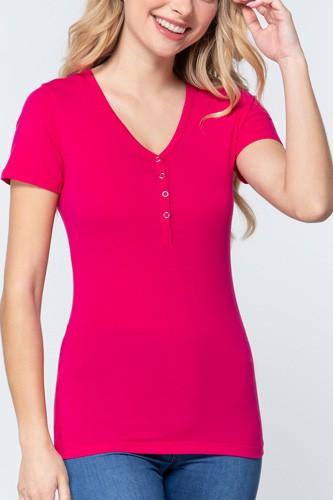 Short Slv V-neck Henley Knit Top