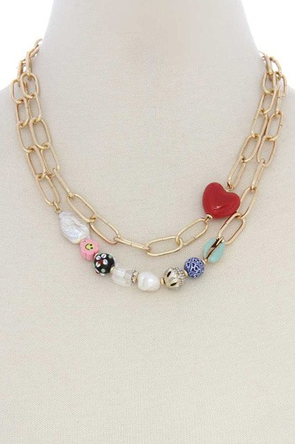Heart Shape Beaded Oval Link Layer Necklace