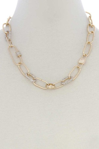 Rhinestone Oval Link Necklace