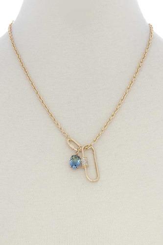 Oval Shape Rhinestone Charm Necklace