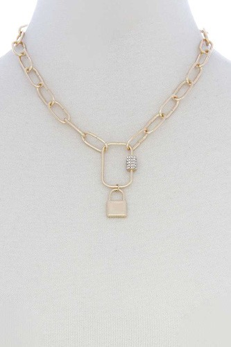 Lock Charm Oval Link Metal Necklace
