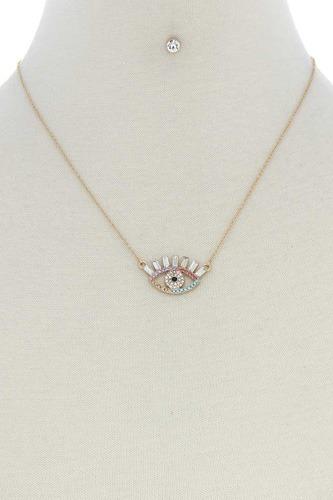 Rhinestone Eye Charm Necklace