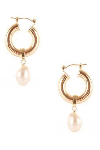 Pearl Dangle Huggie Earring