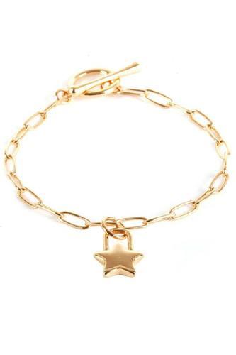 Metal Paper Clip Chain Star Lock Charm Bracelet