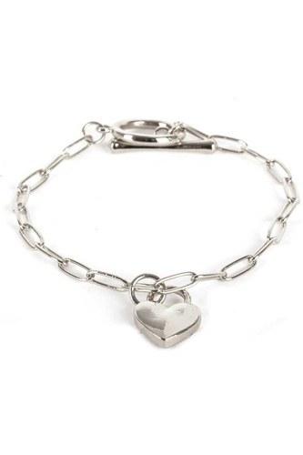 Metal Paper Clip Chain Heart Lock Charm Bracelet